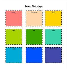 Birthday Calendar  Calendar Template  Birthday Calendar