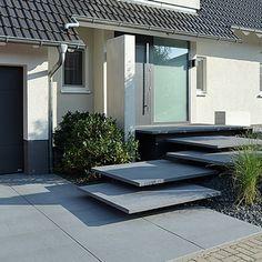 Conceo, Meteoranthrazit, Platten und Stufenplatten, Hauszugang, Eingangspodest #Metten