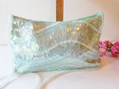 Green Beaded Evening Bag Sparkly Mint Green by LittleBitsofGlamour