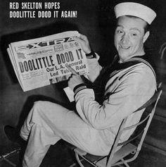 """Skelton with """"Doolittle Dood It!"""" newspaper headline, 1942"""