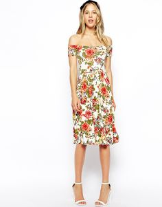ASOS Bardot Midi Dress in Pretty Floral http://asos.to/Wk7vVg
