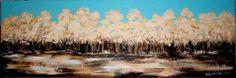 """""""Winterse bomen"""" (2016), acrylverf, structuurpasta op canvas, 120x40cm - Geïnspireerd door de natuur - De website van artstudio-valentina!"""