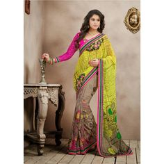 Yellow and Brown Georgette #Wedding #Saree With #Blouse