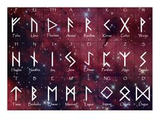 free rune cards made by me, using Word, with rune fonts and shapes - cozmik background added for fun