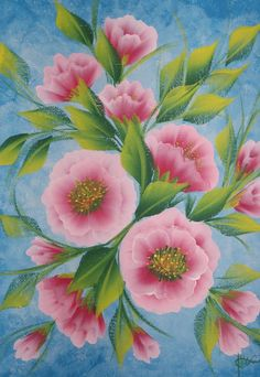 one stroke painting | framed original one stroke painting pink roses on a blue background ...