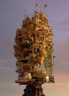 630 Miniature Architecture by Takanori Aiba Steam Punk, Miniature Houses, Fantasy World, Fantasy Art, Modelos 3d, Foto Art, Environment Design, Fantasy Landscape, Fantasy City