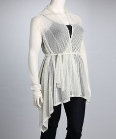 Take a look at this Off-White Mona Plus-Size Cardigan by CANARI on #zulily today!