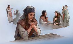 Uma mulher dos tempos bíblicos ora e depois conversa com outra mulher para resolver um desentendimento e fazer as pazes
