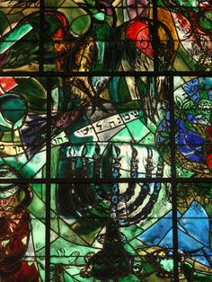 """In 1962 Marc Chagall was commissioned to create 12 stained-glass windows for the Hadassah Hospital of the Hadassah-Hebrew University Medical Center in Jerusalem. It was a major masterpiece and he said of it, """"I felt my father and my mother were looking over my shoulder, and behind them were Jews, millions of other vanished Jews of yesterday and a thousand years ago."""" -"""