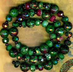 "Ruby Ziosite Beads Green w Ruby Faceted Rondells 10mm Rounds Garnets 17"" Strd 