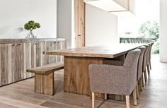 Design: Custom made As shown: Solid oak table, also available in different dimensions, woods and finishes. Solid Oak Table, Solid Wood Furniture, Wooden Tables, Dining Bench, Sweet Home, Interior Design, Wall Ideas, Bespoke, Home Decor