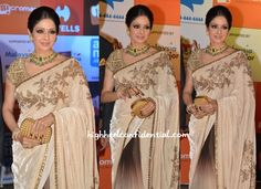 Though we aren't the biggest fans of velvet or the colors of this Sabyasachi sari, there's no denying the fact that Sridevi cut quite the elegant picture on a recent Awards night red carpet. Smokey eyes, striking jewels and a Bottega Veneta clutch finished out her look. She looked good! Sridevi At SIIMA Awards 2014 …