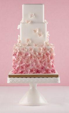 Pink petal wedding cake