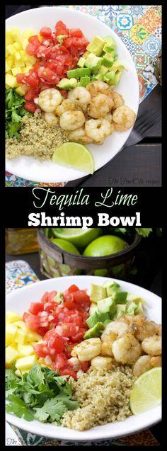 Tequila lime shrimp bowl with avocado, pico de gallo, avocado, quinoa and cilantro