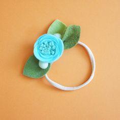 AQUA // felt flower headband by fancyfreefinery on Etsy