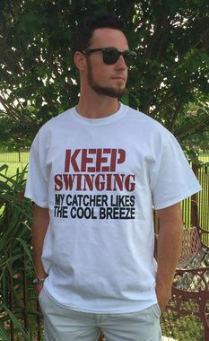 Shop now..My catcher Likes the Cool Breeze silk screened baseball tee. Free shipping.