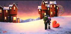 'Home Sweet Home' An original Oil painting on board by artist David Renshaw. From the Northern Romance Collection featuring Ted and Dorris!  Available at Wyecliffe Galleries: http://wyecliffe.com/collections/david-renshaw-original-art/products/home-sweet-home-david-renshaw #wyecliffe