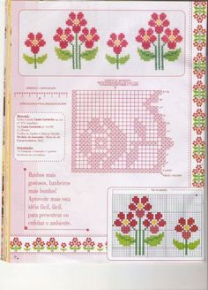 123 Cross Stitch, Beaded Cross Stitch, Filet Crochet Charts, Crochet Stitches, Diy And Crafts, Bullet Journal, How To Make, Stitching, Towel