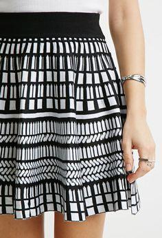 Abstract Windowpane-Patterned Skirt - Skirts - 2000057851 - Forever 21 UK