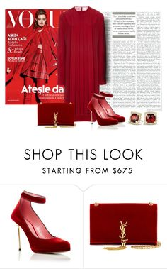"""""""Red She Said"""" by sjlew ❤ liked on Polyvore featuring Paule Ka, Yves Saint Laurent and David Yurman"""