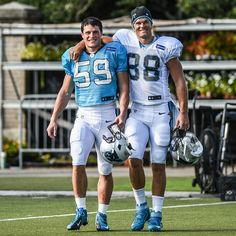 "the-football-chick: ""hellooo… Luke Kuechly and Greg Olsen doing that buddy thing…"