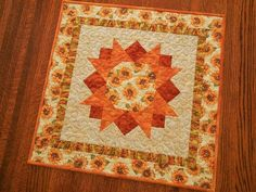 Fall Sunflower Decor Quilted Table Topper or Wall Hanging