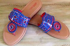Jack Roger inspired sandals hand painted in blue,red and white. Chicago Cubs ! Ole Miss !! Atlanta Braves ! on Etsy, $45.00