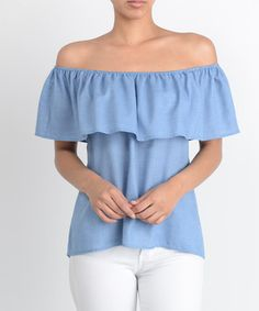 Chambray Off-Shoulder Ruffle Top