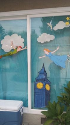 Decorated window with Peter Pan and Wendy