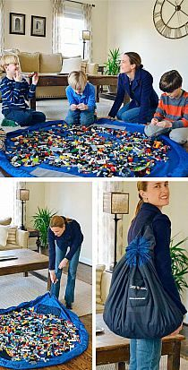 a DRAWSTRING BAG for LEGOS! no DUH! Instant blanket for Legos without the cleanup!