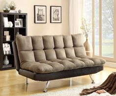 Asia Direct 8635 2 Tone Espresso Pu And Brown Easy Rider Finish Quilted Upholstered Padding Adjule Futon Sofa