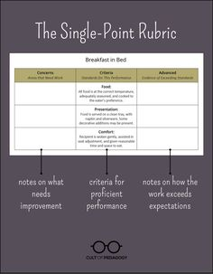 The practice of using single point rubrics is slowly but surely catching on. The simplicity of these rubrics — with just a single column of criteria, rather than a full menu of performance levels — offers a whole host of benefits.
