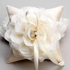 Wedding ring pillow  ivory flower bridal ring bearer by woomipyo, $40.00