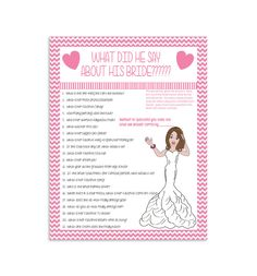 Bridal Shower Game What Did He Say Couple by TheVintagePen
