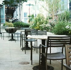 Outdoor Eating Space with Raised Beds Alongside