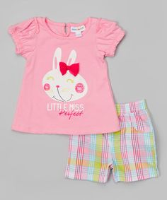 Loving this Prism Pink 'Little Miss Perfect' Tee & Plaid Shorts - Infant on #zulily! #zulilyfinds
