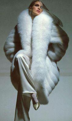 white fox fur coat