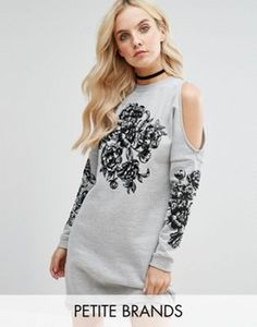 Buy Miss Selfridge Petite Cold Shoulder Embroidered Sweater Dress at ASOS. With free delivery and return options (Ts&Cs apply), online shopping has never been so easy. Get the latest trends with ASOS now. Grey Floral Dress, Long Sleeve Floral Dress, Gray Dress, Floral Dresses, Dress Long, Grey Sweater Dress, Long Sleeve Sweater Dress, Sweater Dresses, Miss Selfridge Petite