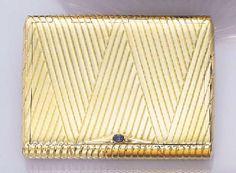 Gold & Sapphire cigarette case - christies