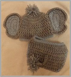 Baby Elephant Hat and Diaper Cover Pattern ... Instant Download via Etsy
