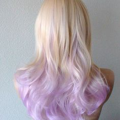 Trending Styles of Dark Hair with Blonde Highlights - Hairstyle For Women Ombre Wigs, Ombre Hair, Violet Hair, Pink Hair, Light Purple Hair, Purple Ombre, Blonde Highlights On Dark Hair, Dipped Hair, Temporary Hair Dye