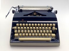 Adler Gabriele 35 - navy blue - working typewriter - lovely condition - vintage - gift by BookoftheDad on Etsy https://www.etsy.com/uk/listing/525387569/adler-gabriele-35-navy-blue-working