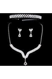 Wedding Jewelry Set - Shining Alloy with Rhinestones Necklace,Earrings and Tiara