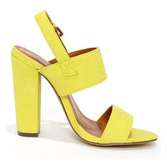 Fay 1 Lemon Yellow High Heel Sandals ($32) ❤ liked on Polyvore featuring shoes, sandals, yellow, heeled sandals, wide shoes, wide sandals, slip-on shoes and strap heel sandals