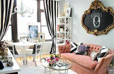 полосатые черно-белые шторы в стиле ар деко