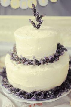 white wedding cake with lavender