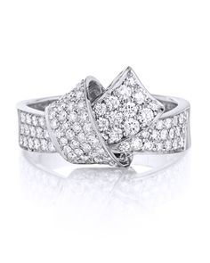 Carelle White Gold and Diamond Pave Knot Ring