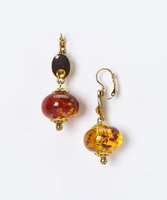 Another great find on #zulily! Gold & Amber Polished Drop Earrings by Treska #zulilyfinds