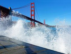 I saw an opportune moment to take this picture as huge waves started crashing against the rocks just in front of Fort Point. Architecture 101, Fort Point, Huge Waves, Print Pictures, Golden Gate Bridge, The Rock, Diy Design, California, Canvas Prints
