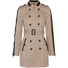 W118 by Walter Baker Ollie leather-trimmed cotton-twill trench coat ($114) ❤ liked on Polyvore featuring outerwear, coats, beige, double breasted trench coat, beige coat, brown trench coat, trench coat and double-breasted coat